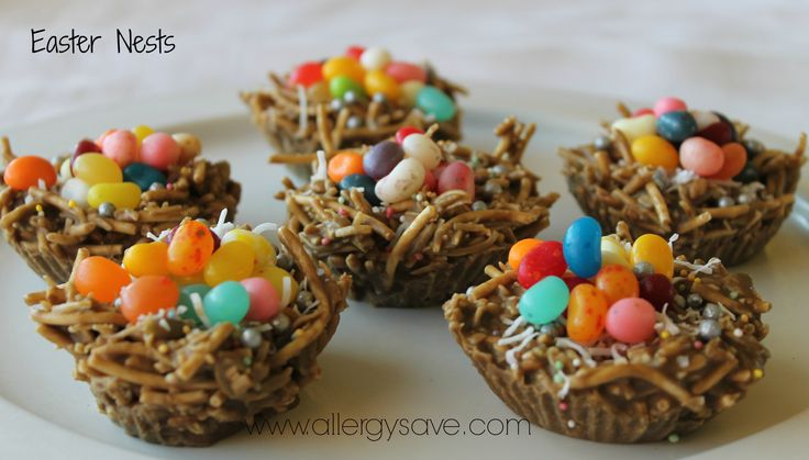 "Easter Nests!  Great for kids ( and big kids) with food allergies or intolerances. Find the recipe in the ""Non Chocolate Treats"" chapter in our Easy Allergy Free Easter (eBook)  #easterrecipes #glutenfree  #nutfree #eggfree #dairyfree #easter #allergyfriendly   http://allergysave.com.au/ebooks/"
