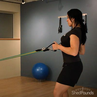 ShedPounds Exercise Tip: Standing Resistance Band Row (neut/abd). Watch the full video here: https://shedpounds.com/exercise/exercises/49