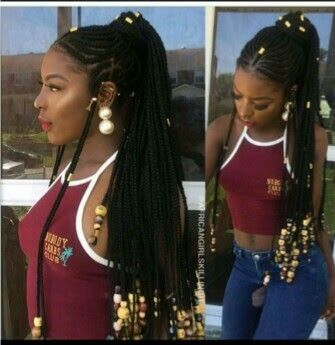 Beads and braids hairstyles