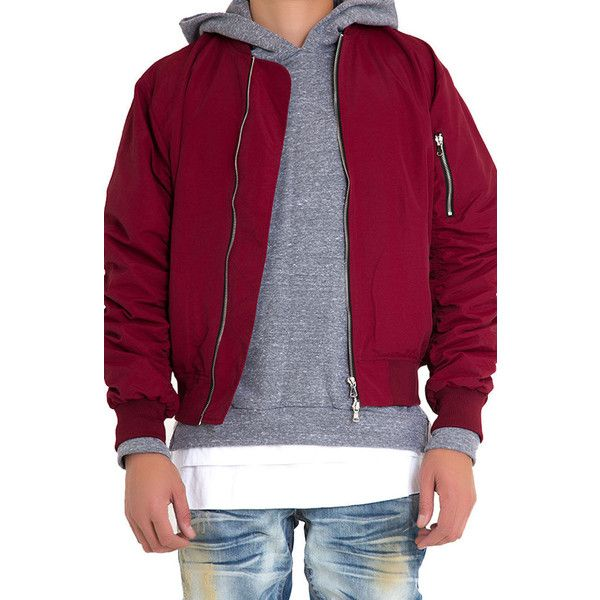 Lifted Anchors The Bird Bomber Jacket in Maroon ($88) ❤ liked on Polyvore featuring men's fashion, men's clothing, men's outerwear, men's jackets and maroon