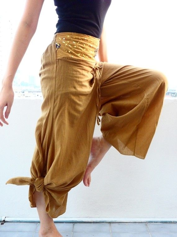 Gypsy yoga pants-I JUST BOUGHT YELLOW MC HAMMER PANTS TO REFASHION! -Hannah