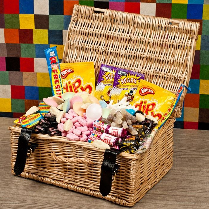Perfect for someone with a sweet tooth! Presented with your personalised message | Retro Sweet Hamper | GettingPersonal.co.uk