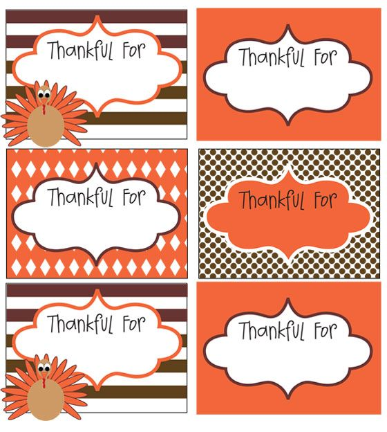 "FREE printable ""Thankful For"" cards can be used to put in"