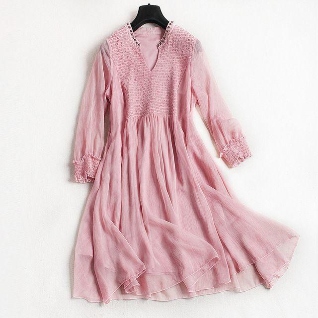 Новый 2017 женщин летнее платье Евро-Американские модные высокой талии эластичный пояс платье с V-воротник и три четверти рукавами