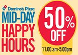 Mid Day Happy Hours : Flat 50% OFF on Dominos Pizza on Min Order of Rs.350