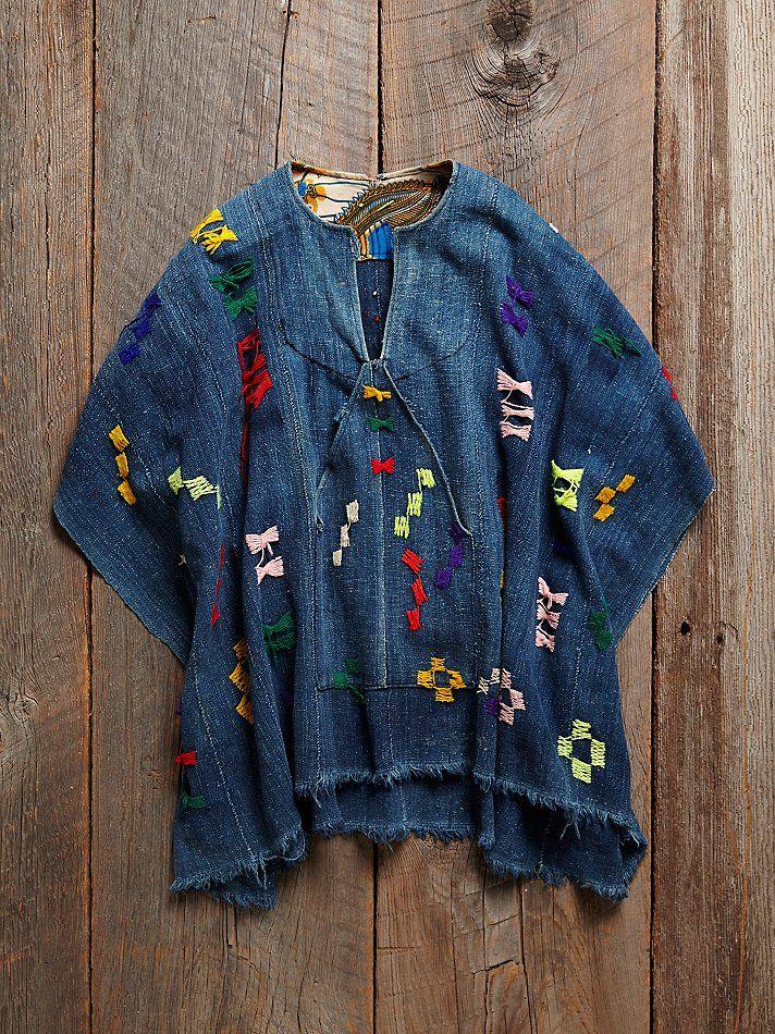 Vintage Embroidered Indigo Poncho