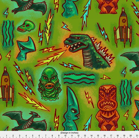 Tiki Movie Monster Fabric  Kaiju Cloth By Woodyworld  Retro