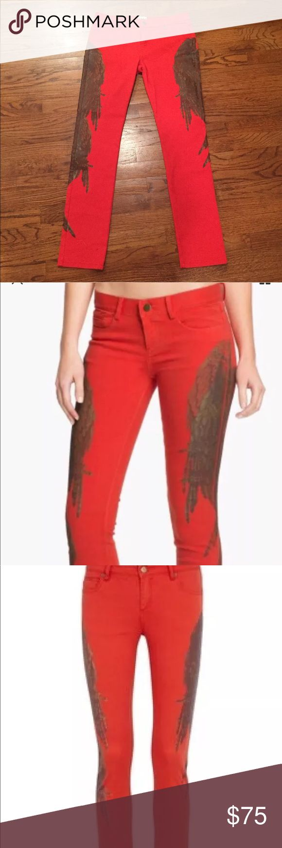 HAUTE HIPPIE RED DENIM SKINNY JEANS PANTS Gorgeous red denim jeans pants by famous designer Haute Hippie. These pants can be worn during every season and both during the day or night. You are bound to always get a WOW from your friends. The feathers are a common motif in this brands items! Haute Hippie Jeans Skinny