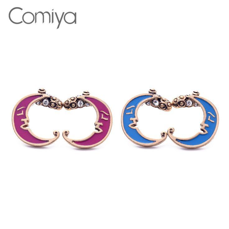 Comiya Fashion Crystal Alloy Enamel Moon Women Stud Earrings Pendientes De Perlas De Doble Bijoux Pendientes Oorknopjes Boho #Affiliate