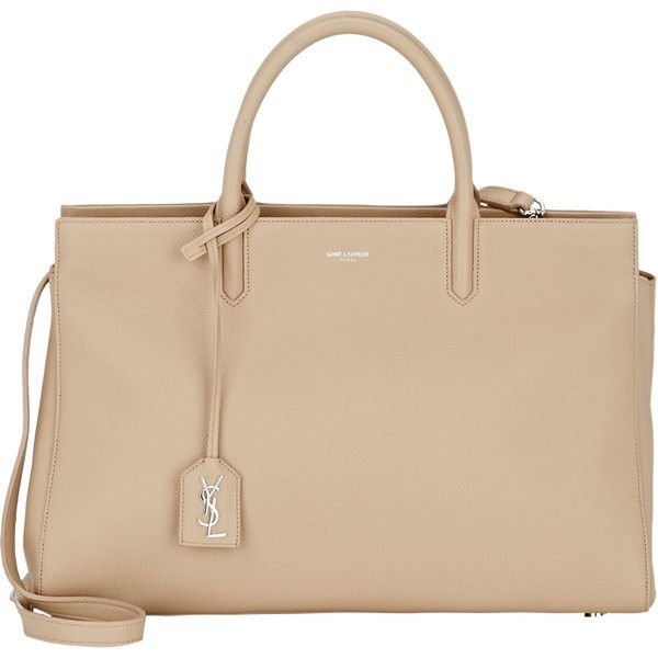 Saint Laurent Rive Gauche Tote ($2,450) ❤ liked on Polyvore featuring bags, handbags, tote bags, bolsas, borse, nude, yves saint-laurent tote, flat purse, beige tote and zip top tote bag
