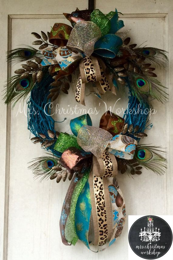 Best 25 Peacock Wreath Ideas On Pinterest Deco Mesh