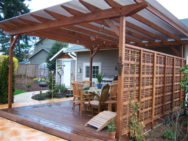 Future deck idea with the wall/pergola on one side. - 25+ Best Ideas About Pergola With Roof On Pinterest Deck With