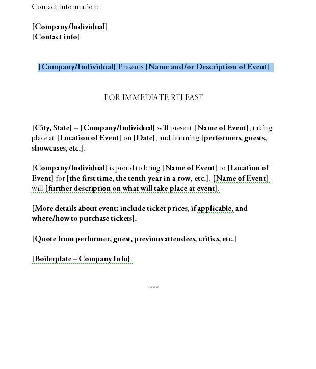 Printable Press Release Format Press Release Template Press Release Release