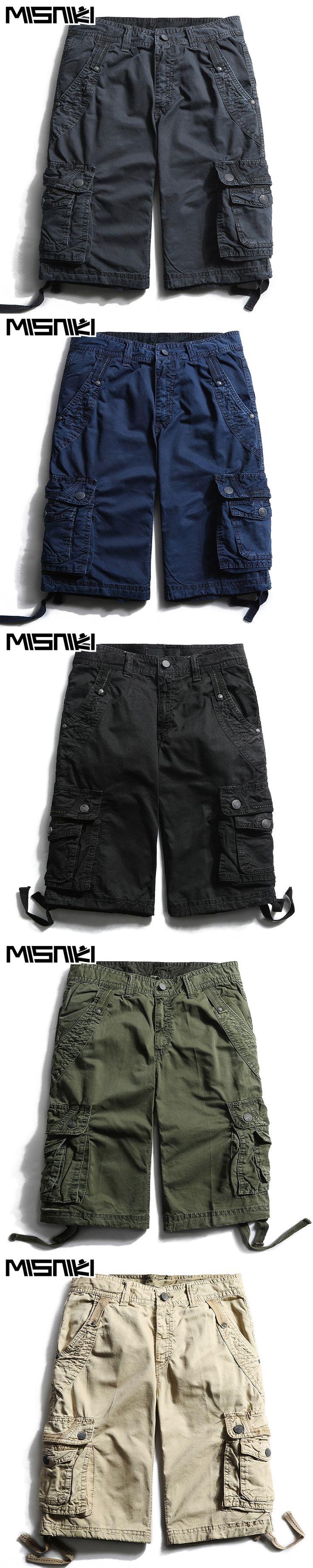 MISNIKI High Quality Cotton Cargo Shorts Men Casual Slim Multi-pocket Military Shorts Mens