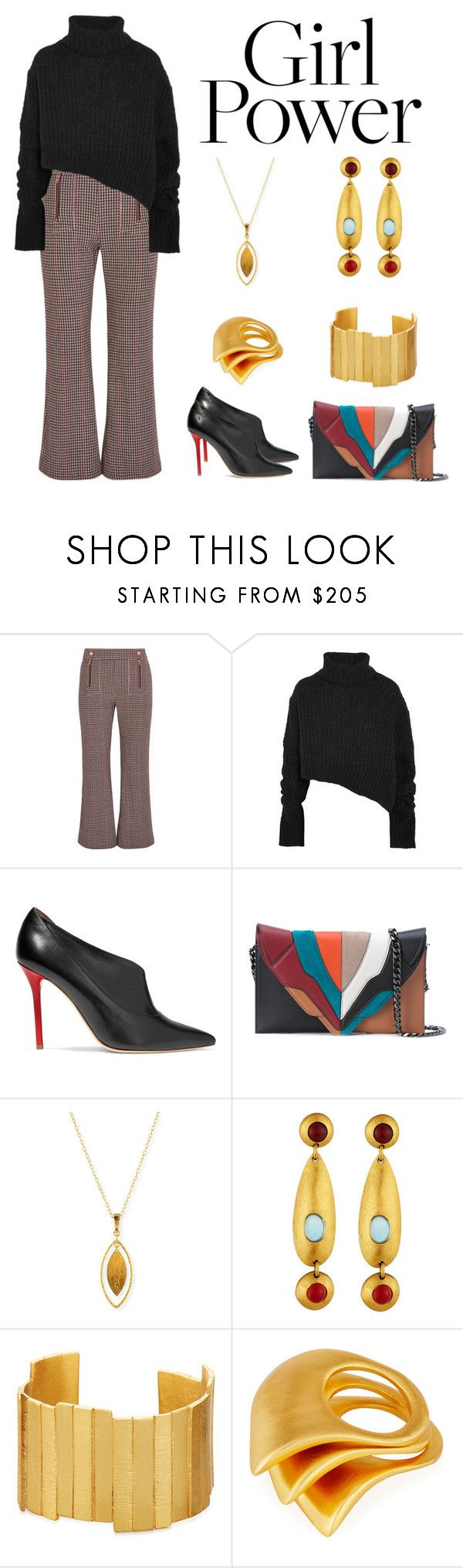 """""""Girl Power"""" by karen-galves ❤ liked on Polyvore featuring See by Chloé, Ann Demeulemeester, Malone Souliers, Elena Ghisellini, Gurhan and Stephanie Kantis"""