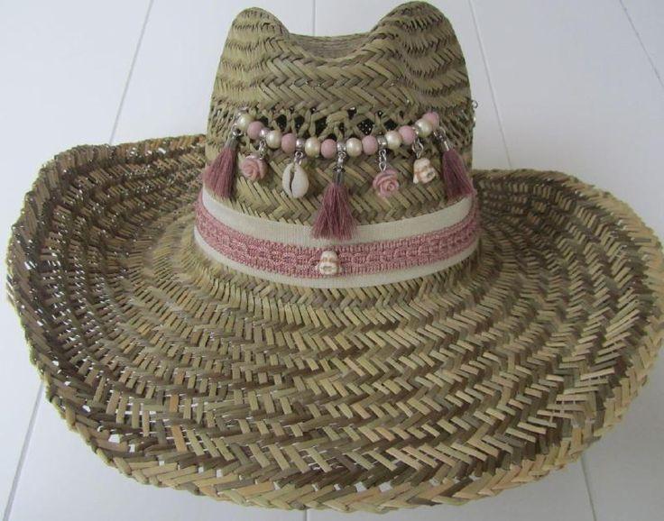 Ibiza stro hoed beige en vintage roze