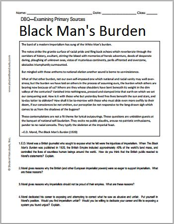 E.D. Morel's 'The Black Man's Burden' - Free Printable Imperialism DBQ Worksheet, Grades 7-12
