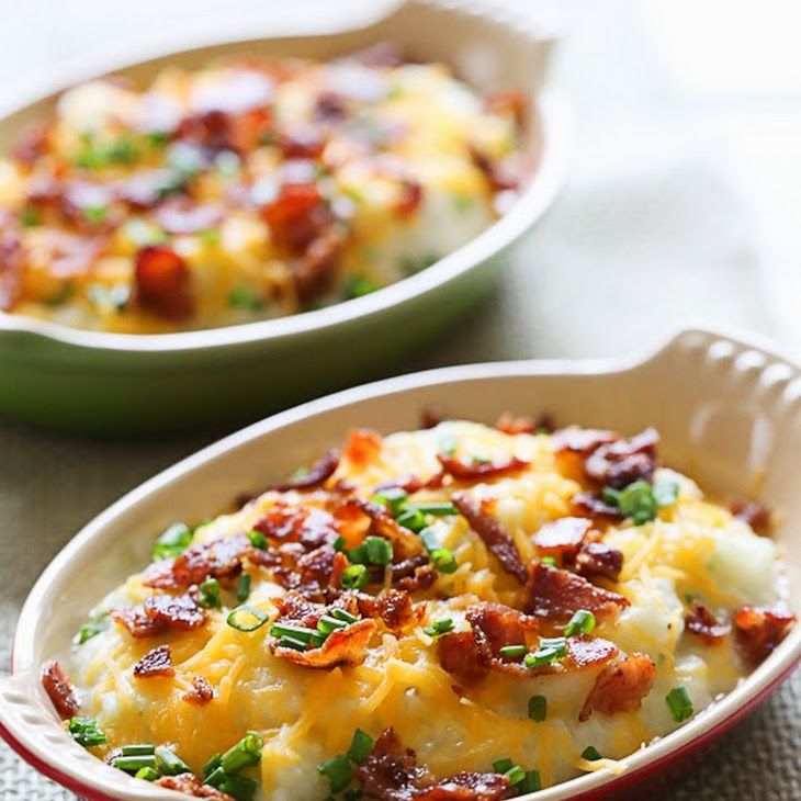 """Loaded Cauliflower """"Mash"""" Bake Recipe Side Dishes with center cut bacon, cauliflower florets, crushed garlic, buttermilk, whipped butter, kosher salt, black pepper, fresh chives, shredded reduced fat cheddar cheese"""