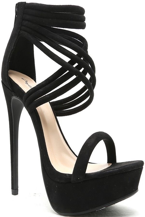 BLACK FAUX SUEDE ZIPPER BACK CRISS CROSS HIGH HEEL,Women's Heels-Sexy Heels,Sexy High Heels,High Heels Shoes,High Heels Pumps,6 Inch Heels,Stiletto Heel,Chunky Heels,Prom Heels,Cut Out Lace Up Heels,Fashion Heels,6 Inch High Heels,Heels and Pumps,Platform Heels,Fashionable Black Heels #blackhighheelswedges
