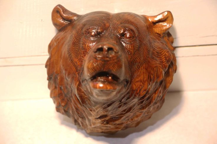 Pyrographic Cedar Grizzly Bear Head by cohowood on Etsy