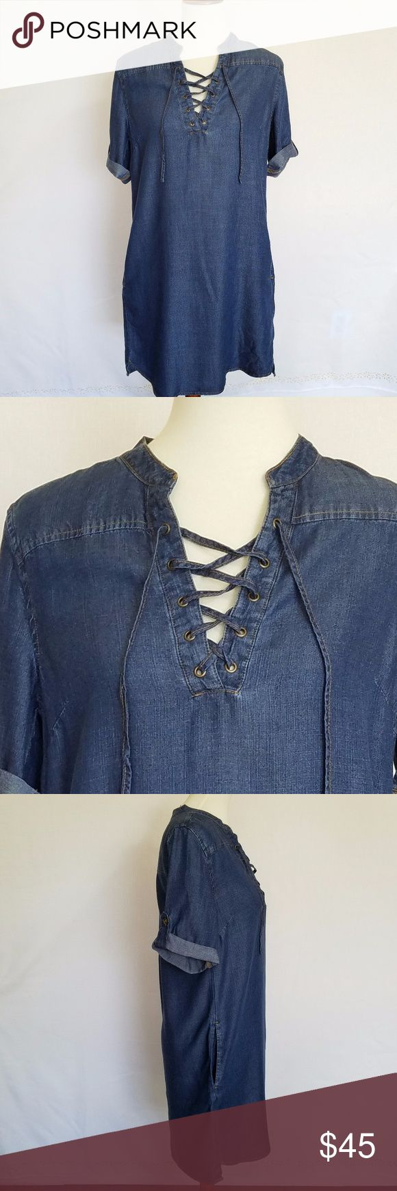 Philosophy Tencel Lace Up Denim Dress size S NWT NWT Philosophy Tencel Lace Up Denim Chambray Dress size S NWT 3/4 sleeve.Roll tab sleeves Stylish front lace up closure 2 Side seam pockets,  Slight high-low hemline, Bottom hem side slits Environmentally friendly 100% Tencel Lyocell fabric Philosophy Dresses Mini