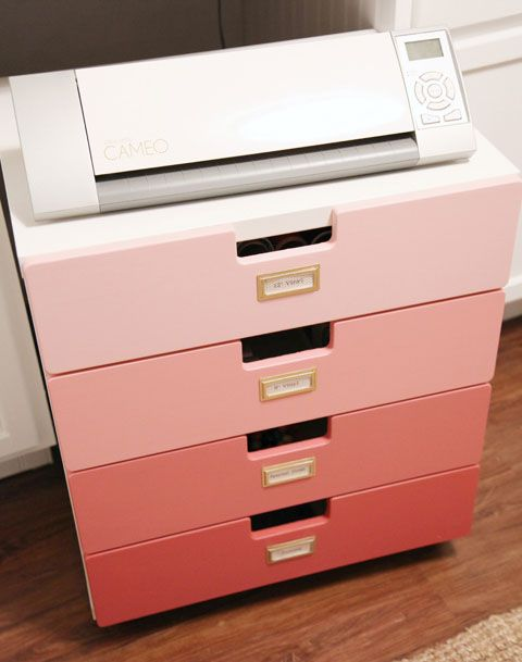 Silhouette machine + supply storage: Ikea's Stuva storage dresser (from children's dept) + casters + ombre paint treatment  {IHeart Organizing}