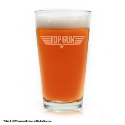Movies On Glass - Top Gun Movie Engraved Logo Pint Beer Glass
