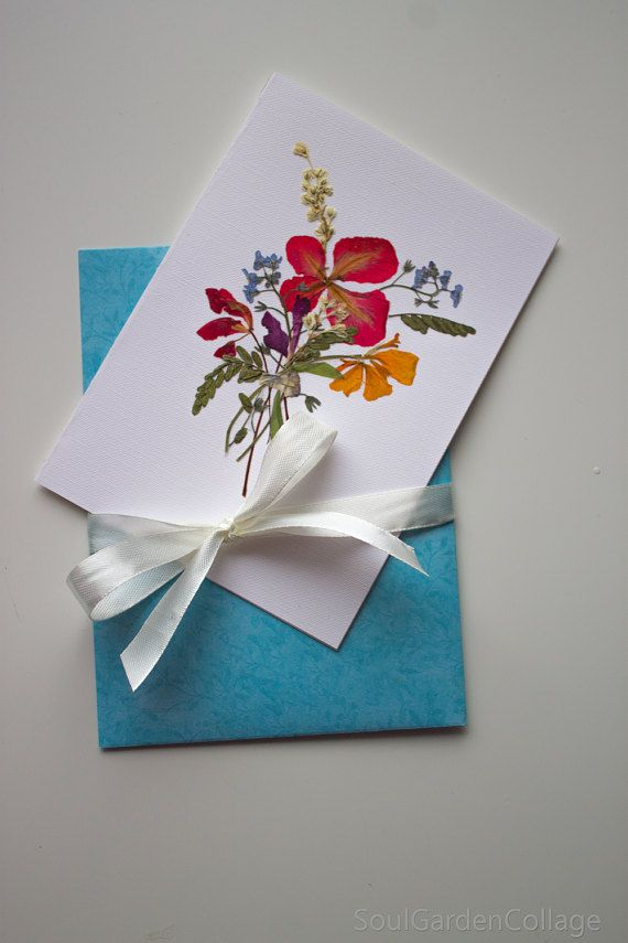 Botanical art Flower art A6 Greeting card by SoulGardenCollage