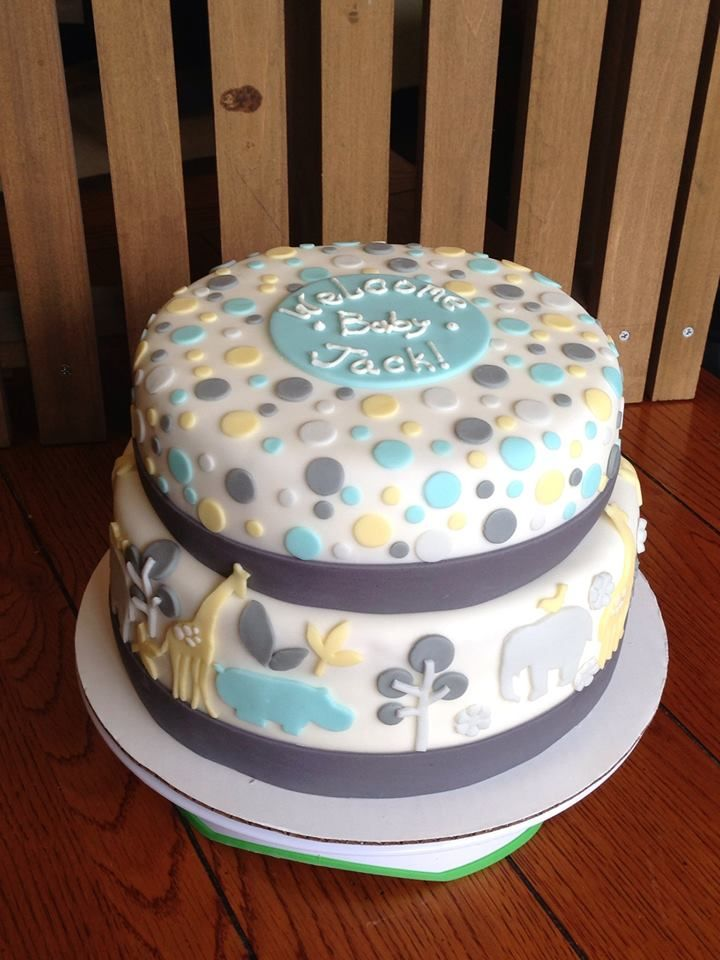 Quot Gray Zoology Quot Baby Shower Cake Could Be Unisex Throw In