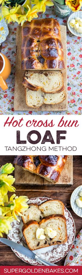Orange and chocolate hot cross bun loaf using the water roux (tangzhong) method. Heavenly soft and perfect for Easter breakfast!