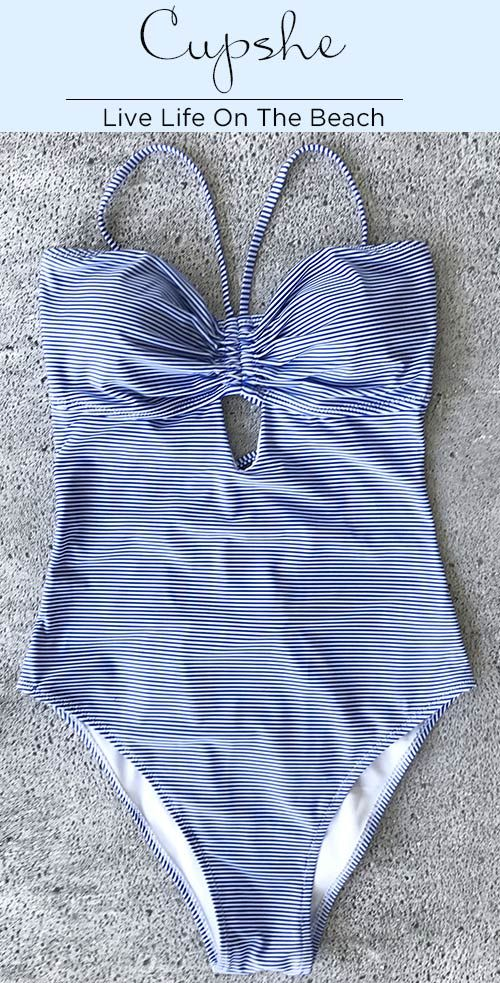 Live life on the beach~  Embrace your natural need in this Stripe Lace Up One-piece Swimsuit. Material is great with a soft feel and the high leg cut is designed for a comfy fitness. Try it and enjoy beach time.