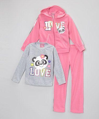 Loving this Hot Pink & Gray 'Love' Hoodie Set - Toddler & Girls on #zulily! #zulilyfinds