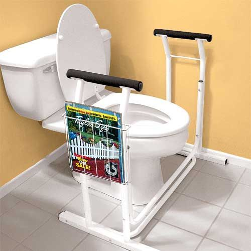 Toilet safety rail takes the worry out of sitting and rising for the elderly. Enhances independence and privacy.