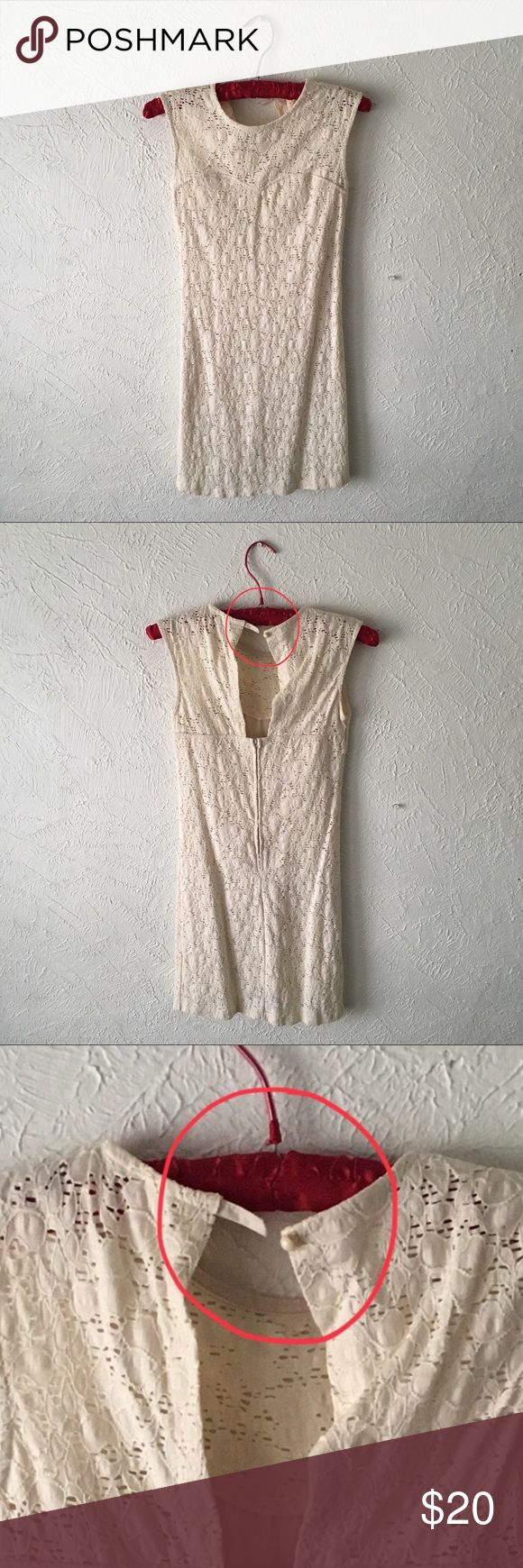 Cream cocktail dress ☁️ white lace cocktail dress  ☁️ worn only once  ☁️ i am 5'3ish and it goes above knee  ☁️ tag says large but fits more like a medium in my opinion  ☁️ selling discounted because of slight but easily repaired damage: missing button loop  ☁️ last photo is showing this same dress but in tag size medium - just to show fit    #dress #whitedress #cocktaildress #wedding #weddingguest #occasion #partydress #party #lace #whitelace Dresses Mini