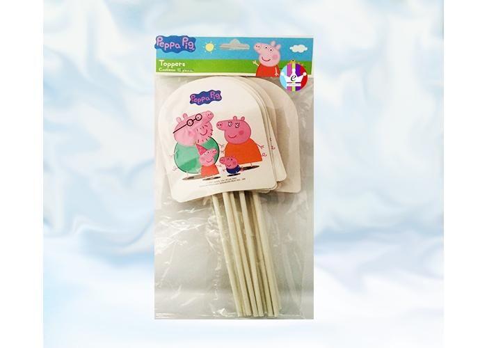 eFantasyMx: Peppa Pig, Toppers decorativos, 12 pzs - Kichink