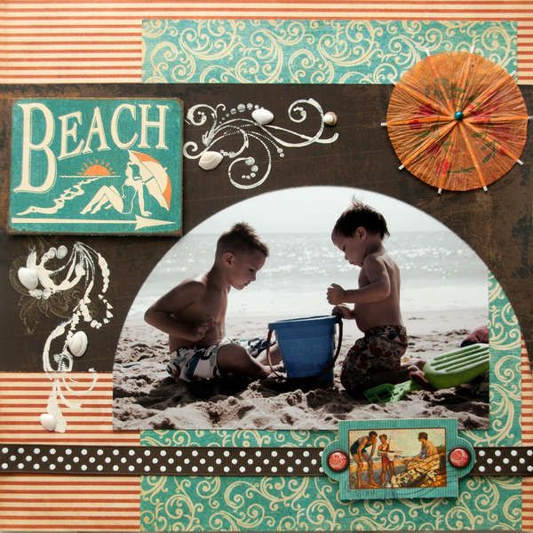 #papercraft #scrapbook #layout. Beach LO