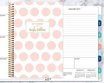 Wochenkalender Planer 2017-2018 wählen Startmonat | monatliche Registerkarten Student Planer personalisierte Agenda hinzufügen | Rosa und gold Polka dots