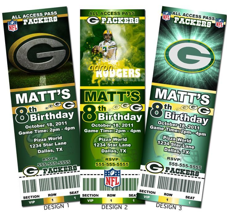 Green Bay Packers NFL Custom Party Ticket Invitations by AAinvites, $8.99