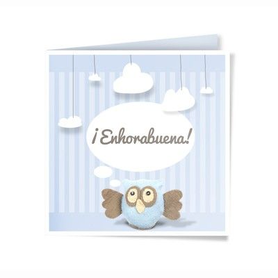 Felicitación Nacimiento Personalizada. Modelo Owly.