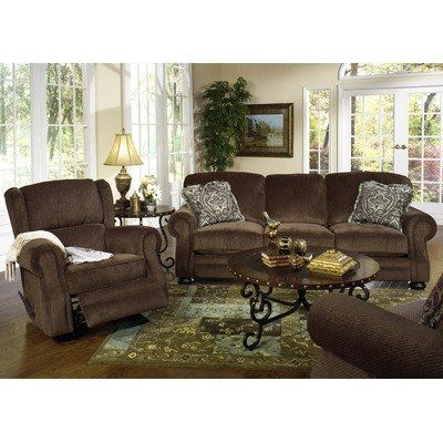 Chaise Lounge Sofa Carlton Sofa and Recliner Set in Java by Jackson Furniture
