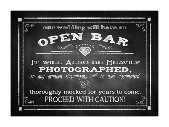OPEN BAR - sheningans wedding sign - FOUR sizes - instant download digital file - Rustic Collection