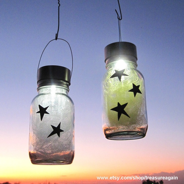 Star Light Jars Outdoor Home Decor, Holiday Mason Jar Solar Lights, Yellow, White, Hanging Outdoor Lanterns