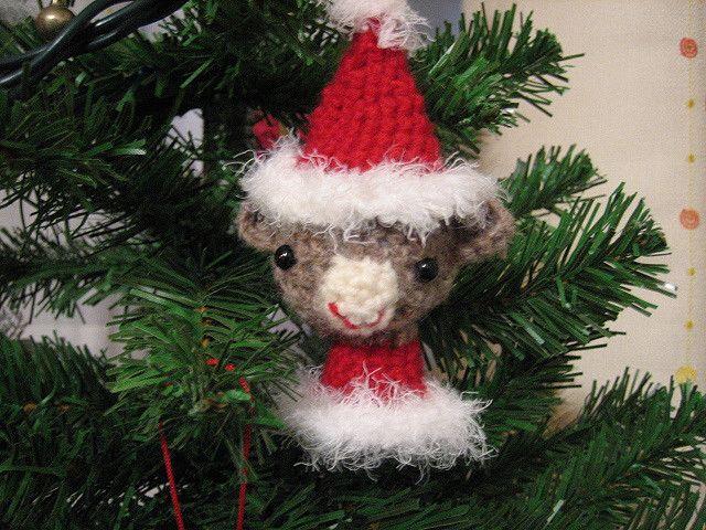 Amigurumi Sock Monkey Ornament - Santa Claus