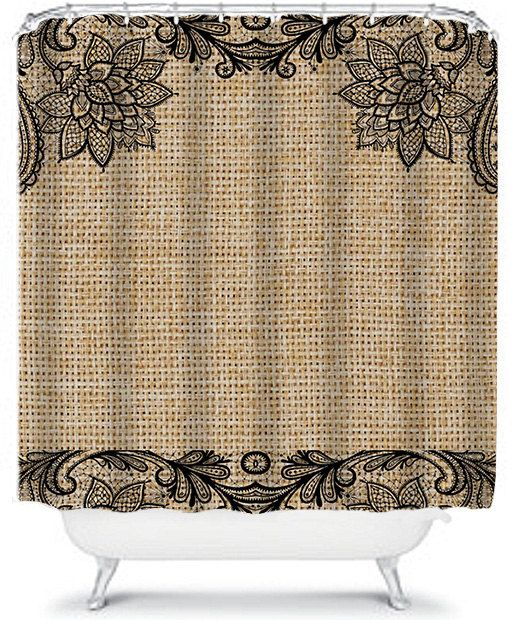 Floral And Lace Burlap Shower Curtain, Black Lace Shower Curtain With  Flowers, Home Decor