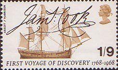 British Anniversaries 1s9d Stamp (1968) Captain Cook's Endeavour and Signature