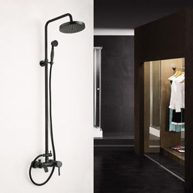 Antique Oil-rubbed Bronze Wall Mount Waterfall Rainfall + Handheld Shower Faucet…