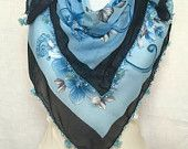 Blue Turkish Scarf Soft Elegant Scarf Cotton Scarf With Floral Motifs Valentine's Day Gift Idea For Woman For Her