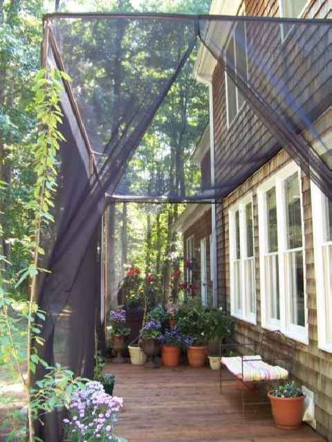 Mosquito Netting Curtains for a DIY Screen Patio. Sometimes you just need a place outside to enjoy without being bothered by bugs or bug spray. So gonna try this.