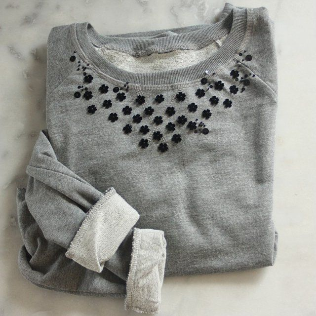Pull brodé avec perles / Modern Embroidery / Broderie contemporaine / Broderie moderne