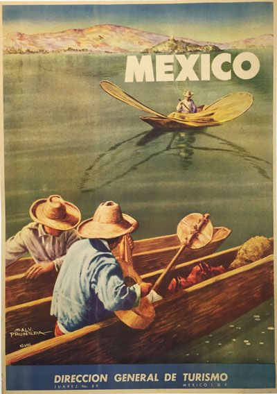Mexico Lake Chapala original vintage poster from 1948 by S. Pruneda.